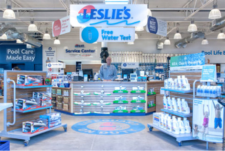 Scott Beckstrom, manager of the new Leslie's Pools concept store at 2005 E. Indian School Road, shows off some of the store's vast array of products. Other unique features include a fully working spa and easier-access product displays (submitted photo).