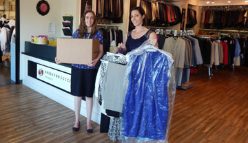 Hannah H. Porter and Kimberly G. Allen, associates with the Gallagher & Kennedy law firm, were part of the company's Professional Women's Group that recently donated new and gently used women's business clothing to the Dress of Success Phoenix boutique (submitted photo).