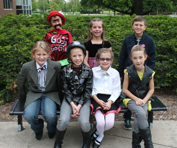 Getting ready to perform their long-term problem, in full costume, are members of Carson Bilger's third-grade Odyssey of the Mind team from Madison Simis, including, from left: front row, Colin Lifshitz, Sabrina Case, Ivanna Grgic and Brianna Stenke; back row, Jeffrey Takeuchi, Addison Case and Sam Luba (submitted photo).