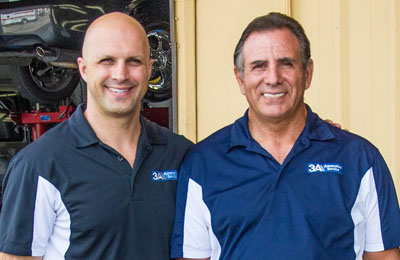 Jimmy Alauria, left, and his father, Jim, represent two generations of knowledge and service at 3A Automotive, which celebrates its 40th anniversary this year (submitted photo).