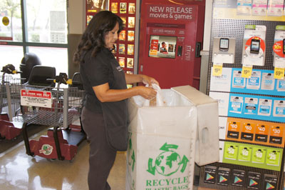 Maria Galaviz, who has worked at the Safeway at 7th Street and Glendale Avenue for eight years, says the store's bag recycling bin is emptied three times a day on average (photo by Teri Carnicelli).