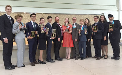 The Phoenix Country Day School Speech and Debate team that attended the NSDA Nationals in Dallas included, from left: Oliver Marsden, Sophia Corridan, Parker Whitfill, Bella de Roos, Jason Greenfield, Nick Klemp (Coach), Michelle Hill (Coach), Ryan Joyce (Coach), Matthew Peterson, Sophia Casten, Max Montrose, Jillian Gilburne, and Bikram Takhar (submitted photo).