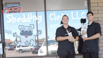 Eric Combs, left, and Peter Colonna of North Central Phoenix recently opened a new pet grooming business, Shedding Clean, at 7828 N. 19th Ave., #17.