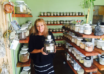 Sue Meyers, owner of Green Goddess House of Herbs, says the Apple Caramel and Almond tea is perfect for the winter weather (photo by Patty Talahongva).