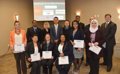 These 13 people are the first in Phoenix to graduate from BankWork$, a partnership with Arizona Women's Education and Employment (AWEE) to prepare workers for careers in the financial services industry (submitted photo).
