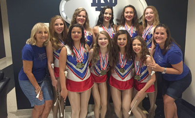 Bringing home 49 medals and various other awards from the America's Youth on Parade (AYOP) Baton Twirling Championships are members of the Phoenix Superstars, including from left: back row, Erica Barndt, Madelynn Cleis, Alexis Mendez, Rachel Rodriguez and Reagan Berry; front, Coach Becky Hewitt, Madysin Hewitt, Madelyn Barndt, Alaina Hewitt, Quinn Cerullo, and Assistant Coach Sarah Ewart (submitted photo).