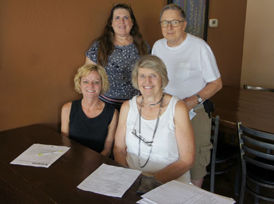Among the few remaining Sunnyslope Kiwanis Club members, who met for a final farewell on Sept. 22, are, clockwise from bottom left: Betsy Durkin, club member for six years and Key Clubs coordinator; Julie Sertich, club treasurer and a member for 16 years; Dave Hanner, a charter member of the club since 1987; and Kay Schnizlein, a member for four years (photo by Teri Carnicelli).