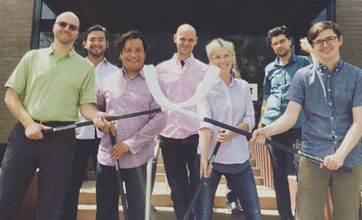 Architects with Richard+Bauer prepare to compete against other commercial real estate teams during Goodmans Chair Hockey on Oct. 20, which benefitted First Place AZ, a local nonprofit serving adults with autism (submitted photo).