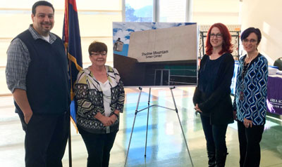 Celebrating the new signage at the Shadow Mountain Senior Center are, from left: Senior Program Supervisor Phillip Moreno; Phoenix Councilwoman Debra Stark; Senior Center Secretary Kelly Reif, and Senior Center Assistant Leslie George (submitted photo).